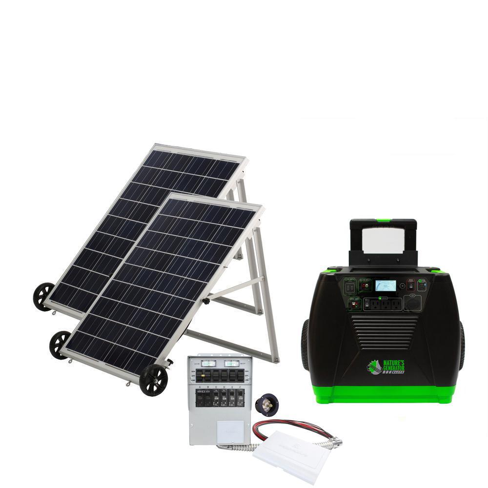 3600-Watt Solar Powered Portable Generator with 2 Solar Panels and Power Transfer Kit