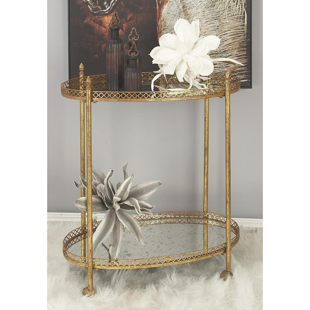 2-Tiered Iron and Glass Oval Wheeled Bar Cart in Polished Gold
