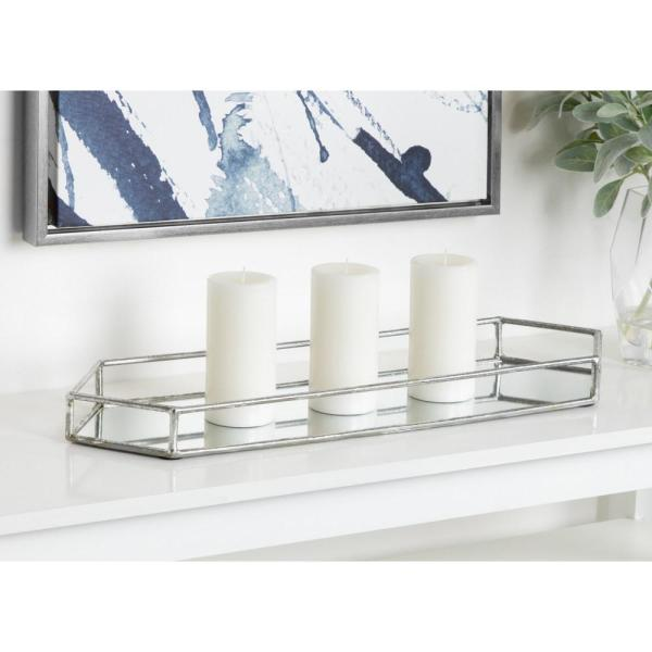 Kate and Laurel Felicia Silver Decorative Tray 213752