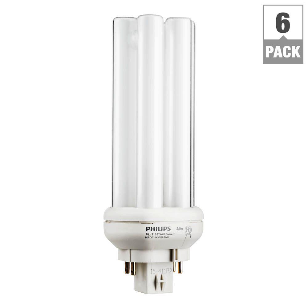 26-Watt Gx24q-3 PL-T CFLNI Quad Amalgam Tube 4-Pin Light Bulb Soft White (6-Pack)