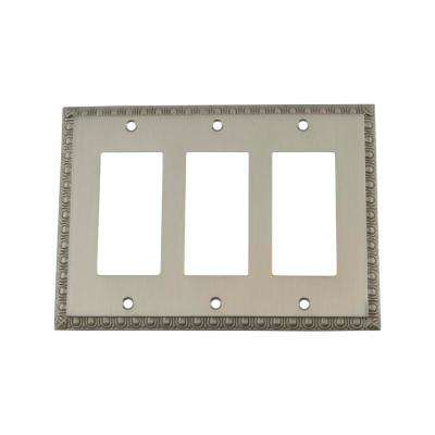 Egg and Dart Switch Plate with Triple Rocker in Satin Nickel