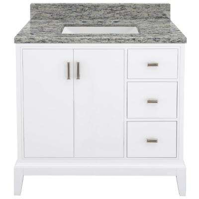 Shaelyn 37 in. W x 22 in. D Bath Vanity in White RH Drawers with Granite Vanity Top in Santa Cecilia with White Sink