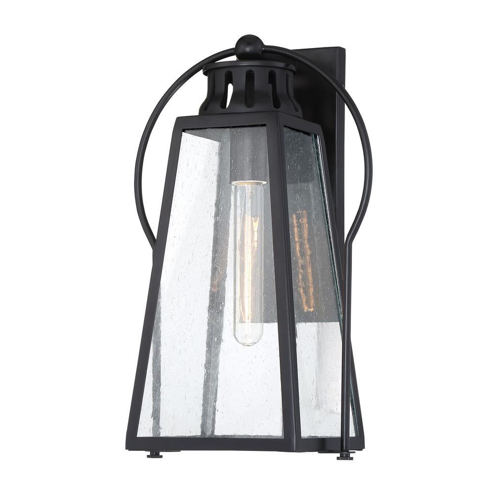 Halder Bridge 1-Light Sand Black Outdoor Lantern Light Sconce with Seeded Glass