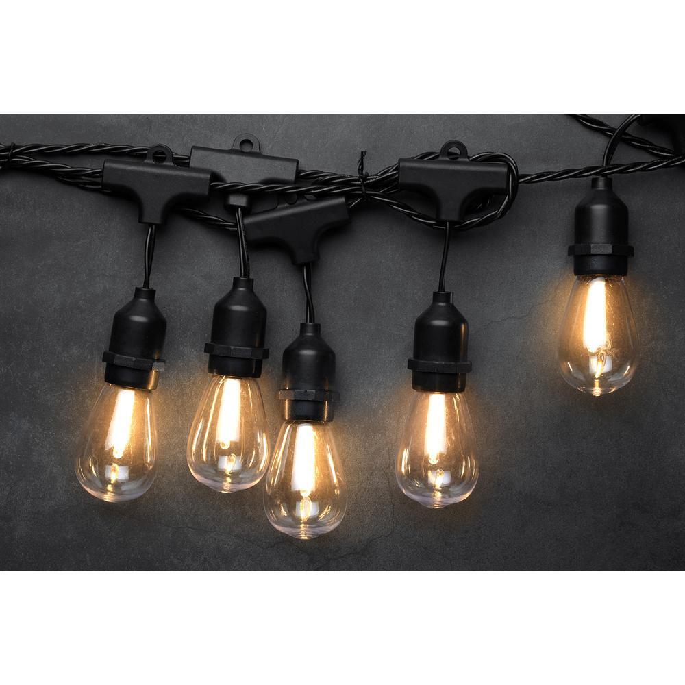 novolink 10 light 10 5 ft edison bulb warm white led string light hx 01872 the home depot. Black Bedroom Furniture Sets. Home Design Ideas