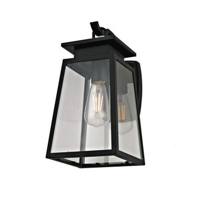 1-Light Textured Black Transitional Outdoor Wall Sconce