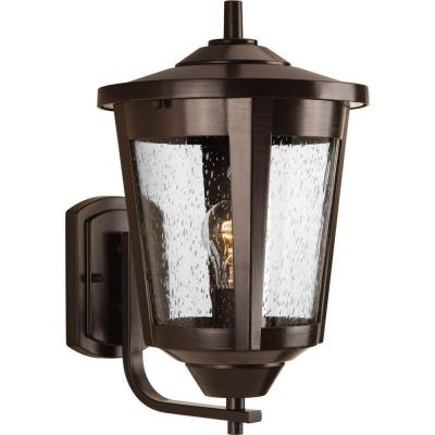 East Haven Collection 1-Light Antique Bronze 15.1 in. Outdoor Wall Lantern Sconce