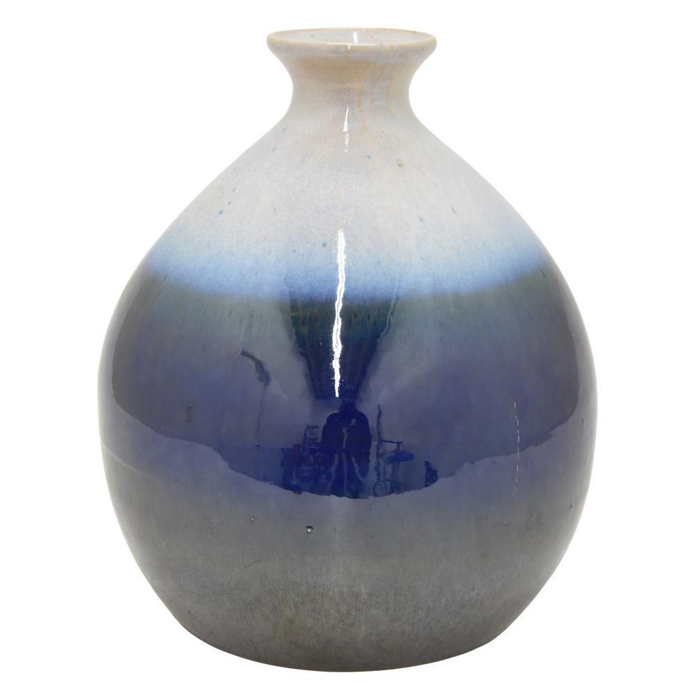 12 in. Blue Ceramic Decorative Vase