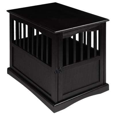 Small Black Pet Crate End Table with Gate