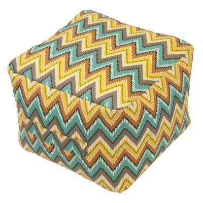 Terrace Zig Zag Square Outdoor Pouf Cushion with Handle