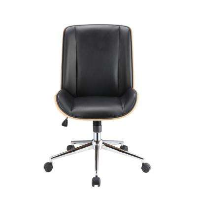 Yasen Black Leatherette and Walnut Office Chair
