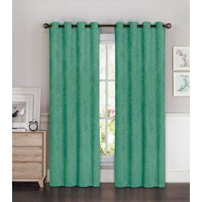 Blackout Faux Suede Extra Wide 96 in. L Room Darkening Grommet Curtain Panel Pair in Teal (Set of 2)