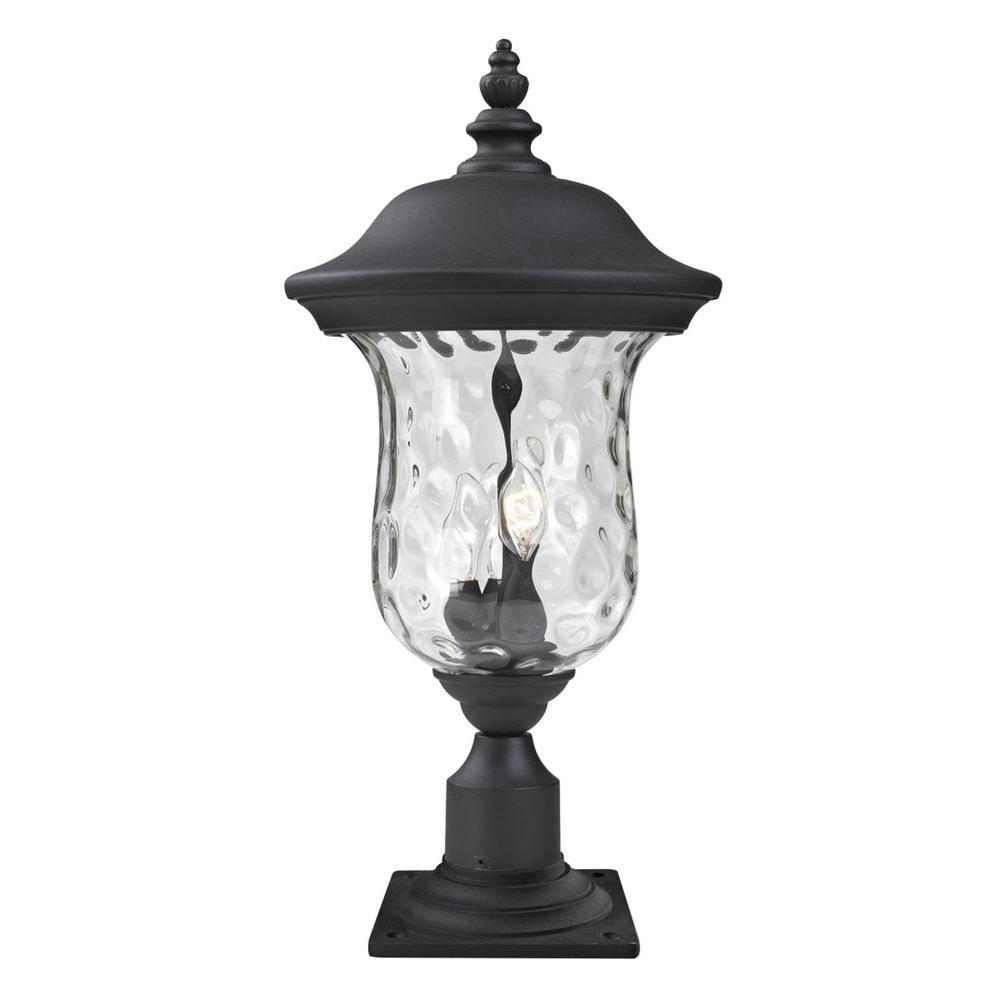 Lawrence 3-Light Black Classic Outdoor Lamp Post with Clear Water Flow