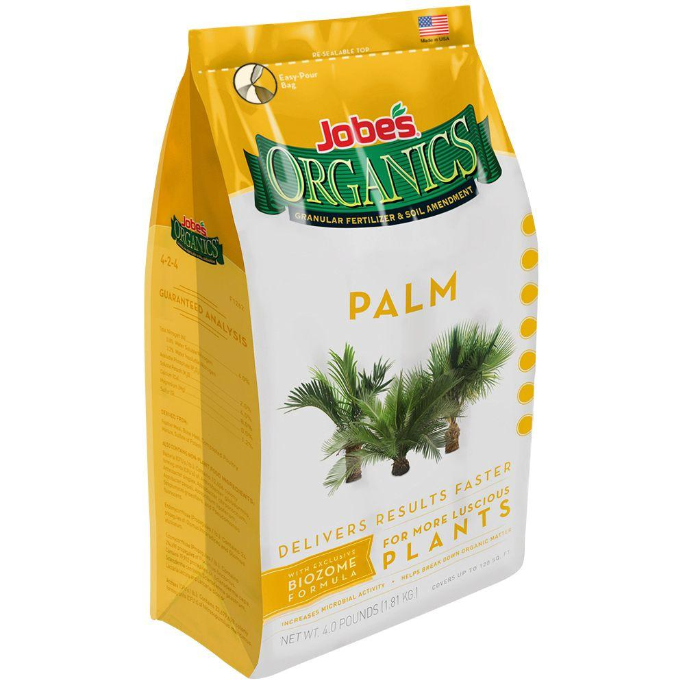Jobe's Organics 4 lb. Organic Palm Plant Food Fertilizer with Biozome, OMRI Listed