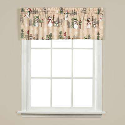 Snowman Land 13 in. L Polyester Valance in Linen