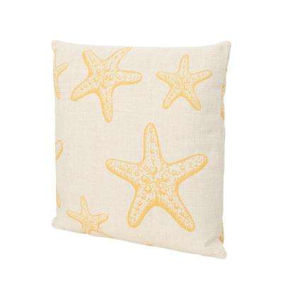 Kenny Starfish 18 in. Square Outdoor Throw Pillow