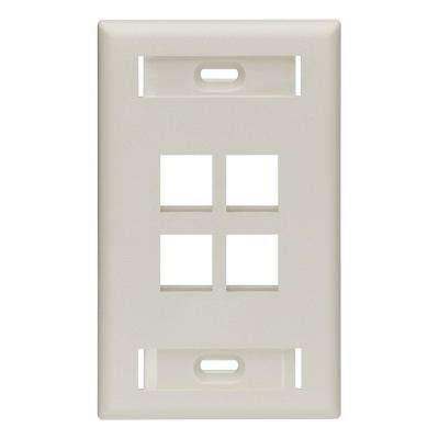 1-Gang QuickPort Standard Size 4-Port Wallplate with ID Windows, Light Almond