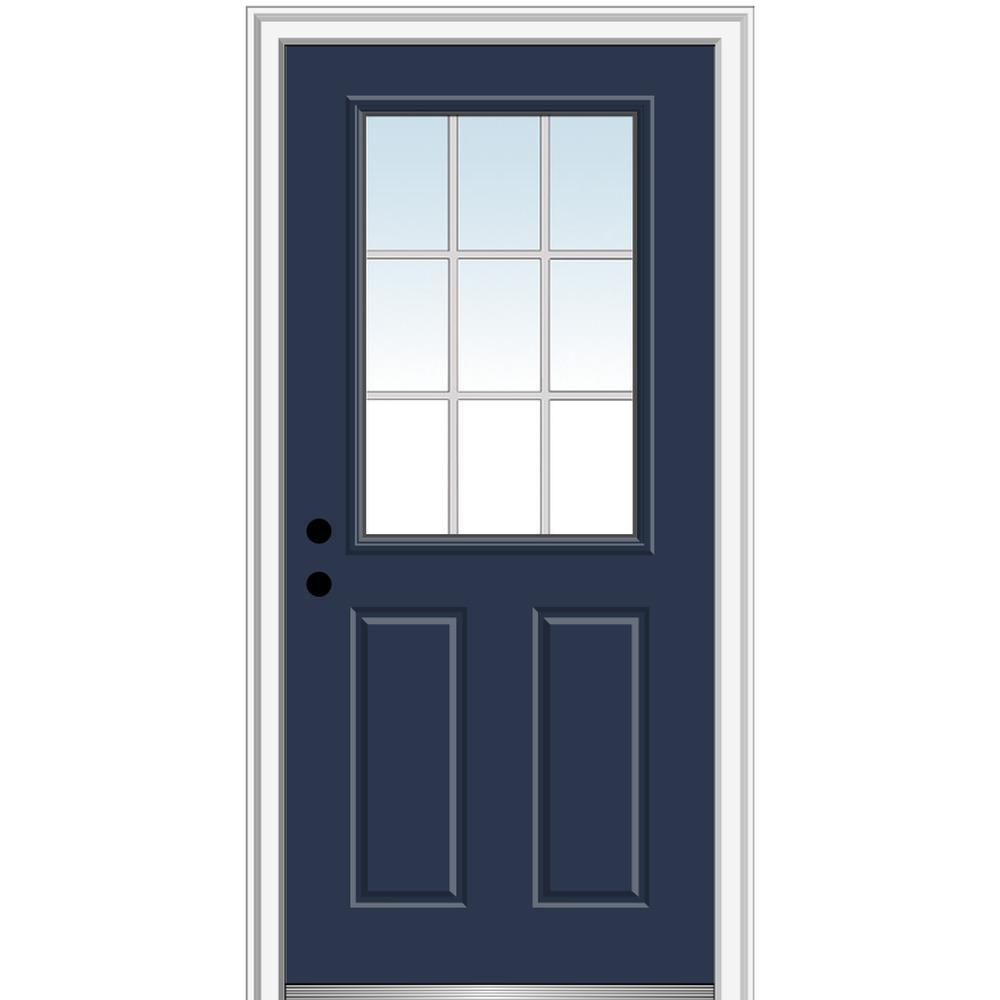 MMI Door 30 in. x 80 in. Grilles Between Glass Right-Hand Inswing 1/2-Lite Clear 2-Panel Painted Steel Prehung Front Door