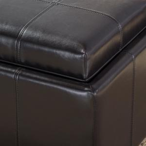 Terrific Noble House Dartmouth Espresso Brown Bonded Leather Tray Top Caraccident5 Cool Chair Designs And Ideas Caraccident5Info