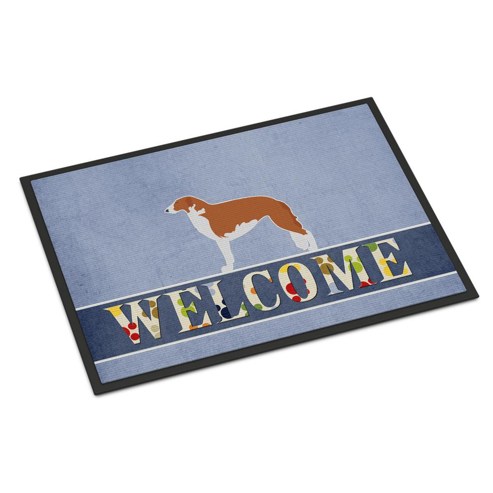 18 in. x 27 in. Indoor/Outdoor Borzoi Russian Greyhound Welcome Door