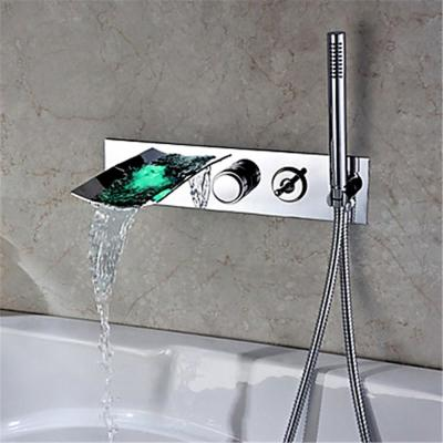 Clari Modern 2-Handle Wall Mounted LED Roman Tub Faucet with Hand Shower in Polished Chrome