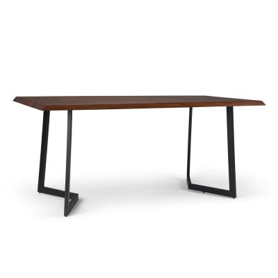 Watkins 72 in. x 36 in. Dark Brown Solid Mango Wood Rectangle Industrial Dining Table with Inverted Metal Base