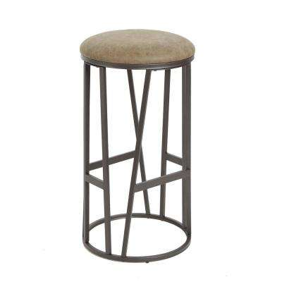 Toddrick 29 in. Brown and Gunmetal Gray Backless with Round Padded Barstool