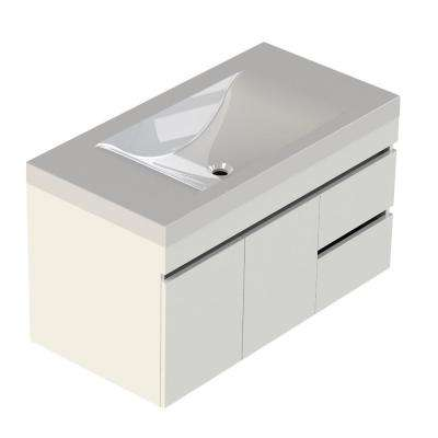Viteli + Siena 37 in. W x 19 in. D Bath Vanity in White with Cultured Marble Vanity Top in White with White Basin