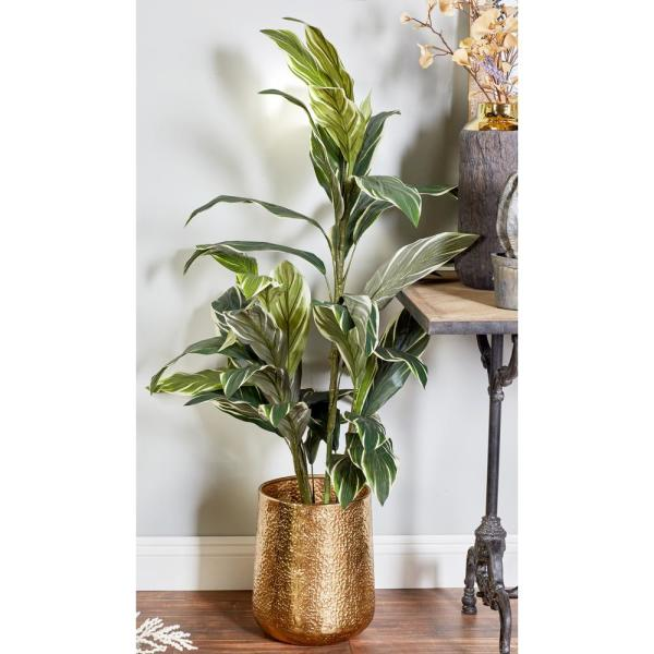 Litton Lane Glossy Gold Aluminum and Iron Planters (Set of 3)