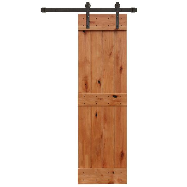 24 in. x 84 in. Rustic Unfinished 2 Panel Knotty Alder Sliding Barn Door Kit with Oil Rubbed Bronze Hardware Kit