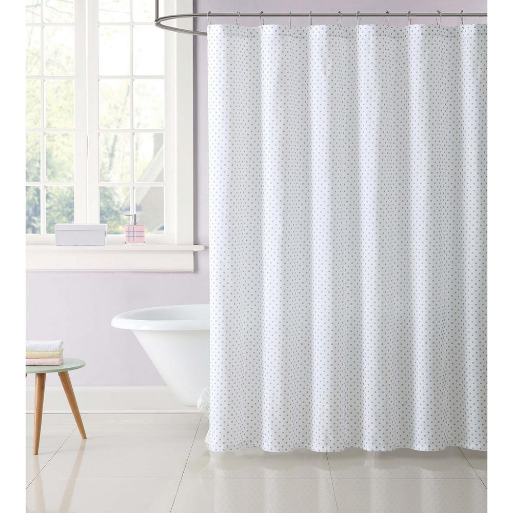 Laura Hart Kids 72 In Gray Dot Shower Curtain