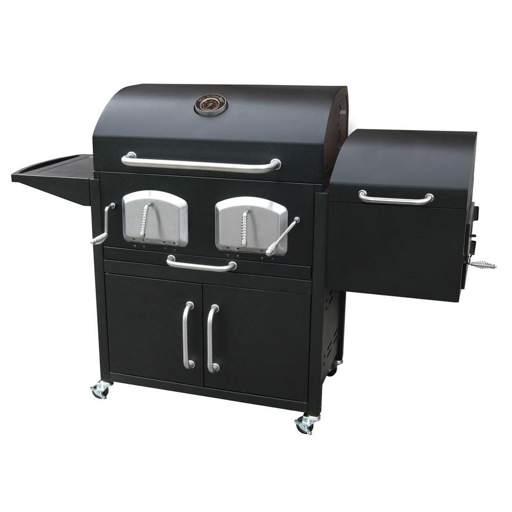 LANDMANN Bravo Premium Charcoal Grill in Black with Offset Smoker Box