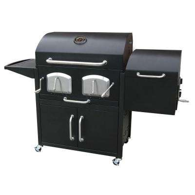 Bravo Premium Charcoal Grill in Black with Offset Smoker Box