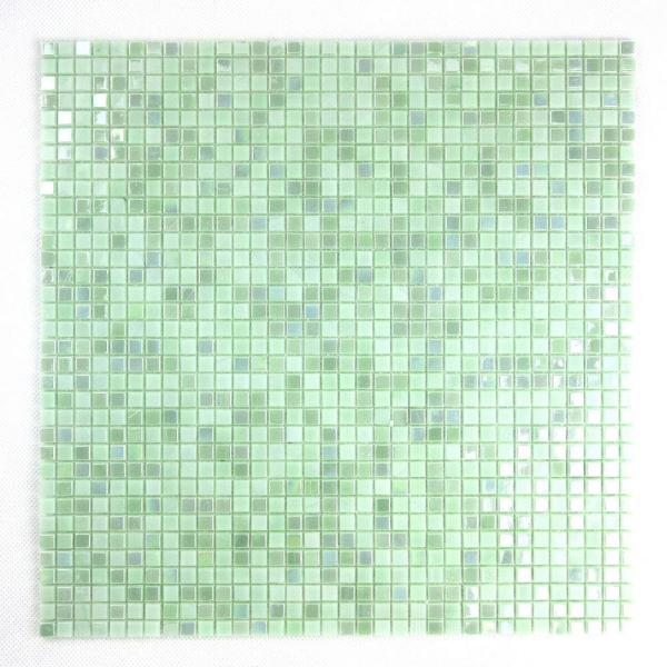 Galaxy Cloud Dust Green Square Mosaic 0.3125 in. x 0.3125 in. Iridescent Glass Wall Tile (0.98 Sq. ft.)