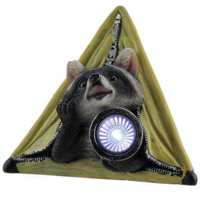 Light Statue Critter Camp Raccoon in Tent LED Solar in Yellow