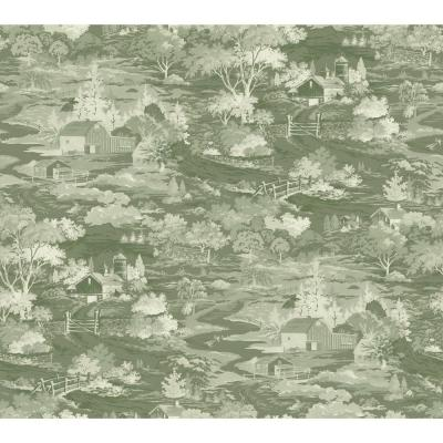 Coverlet Floral Green/Off White Paper Strippable Roll (Covers 60.75 sq. ft.)
