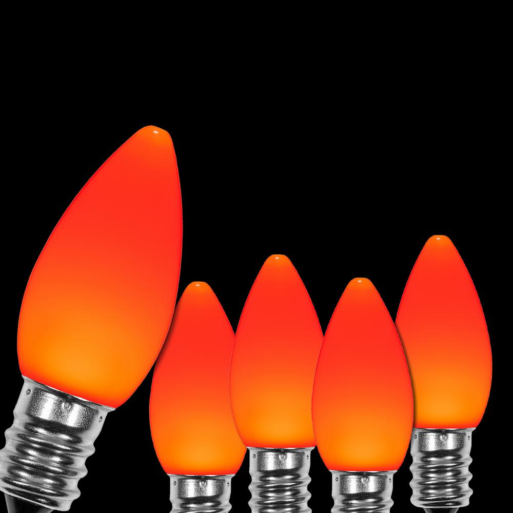 Wintergreen Lighting OptiCore C7 LED Orange Smooth/Opaque Replacement Light Bulbs (25-Pack)