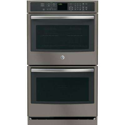 Profile 30 in. Double Electric Wall Oven Self-Cleaning with Convection Oven in Slate, Fingerprint Resistant