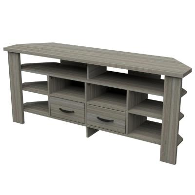 59.1 in. Smoke Oak Wood Corner TV Stand Fits TVs up to 60 in.