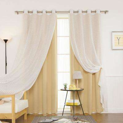 84 in. L uMIXm Wheat Sheer Checkered and Blackout Curtain (4-Pack)