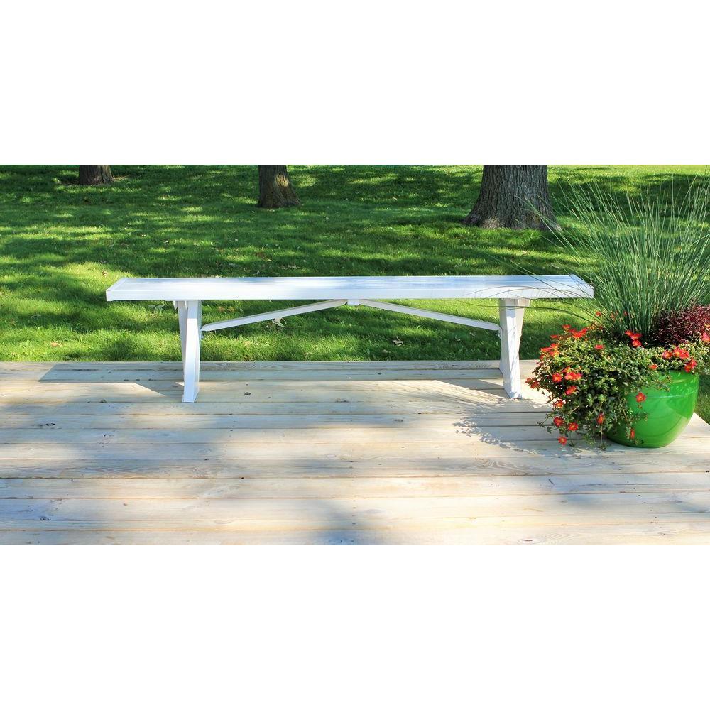 Strange Dura Trel White Vinyl 6 Ft Plastic Outdoor Patio Bench Pdpeps Interior Chair Design Pdpepsorg