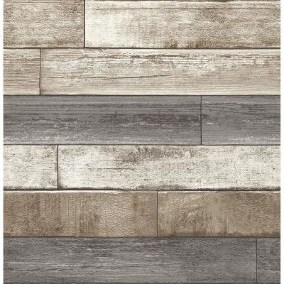 56.4  sq. ft. Porter Brown Weathered Plank Wallpaper