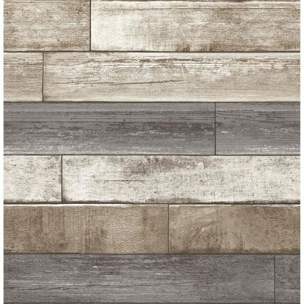 Brewster Grey Weathered Plank Wood Texture Wallpaper