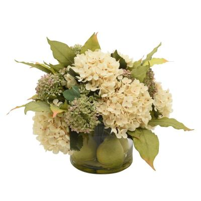 21 in. L x 15 in. H Mixed Flower Arrangements with Pink Cream and Green Hydrangea in Glass Vase