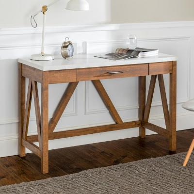 46 in. Walnut/White Marble Rectangular 1 -Drawer Writing Desk with Faux Marble Top