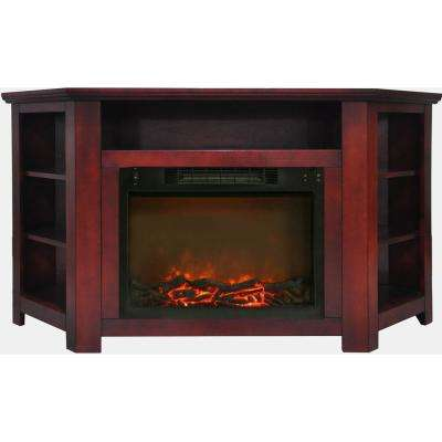 Stratford 56 in. Electric Corner Fireplace in Cherry with 1500-Watt Fireplace Insert