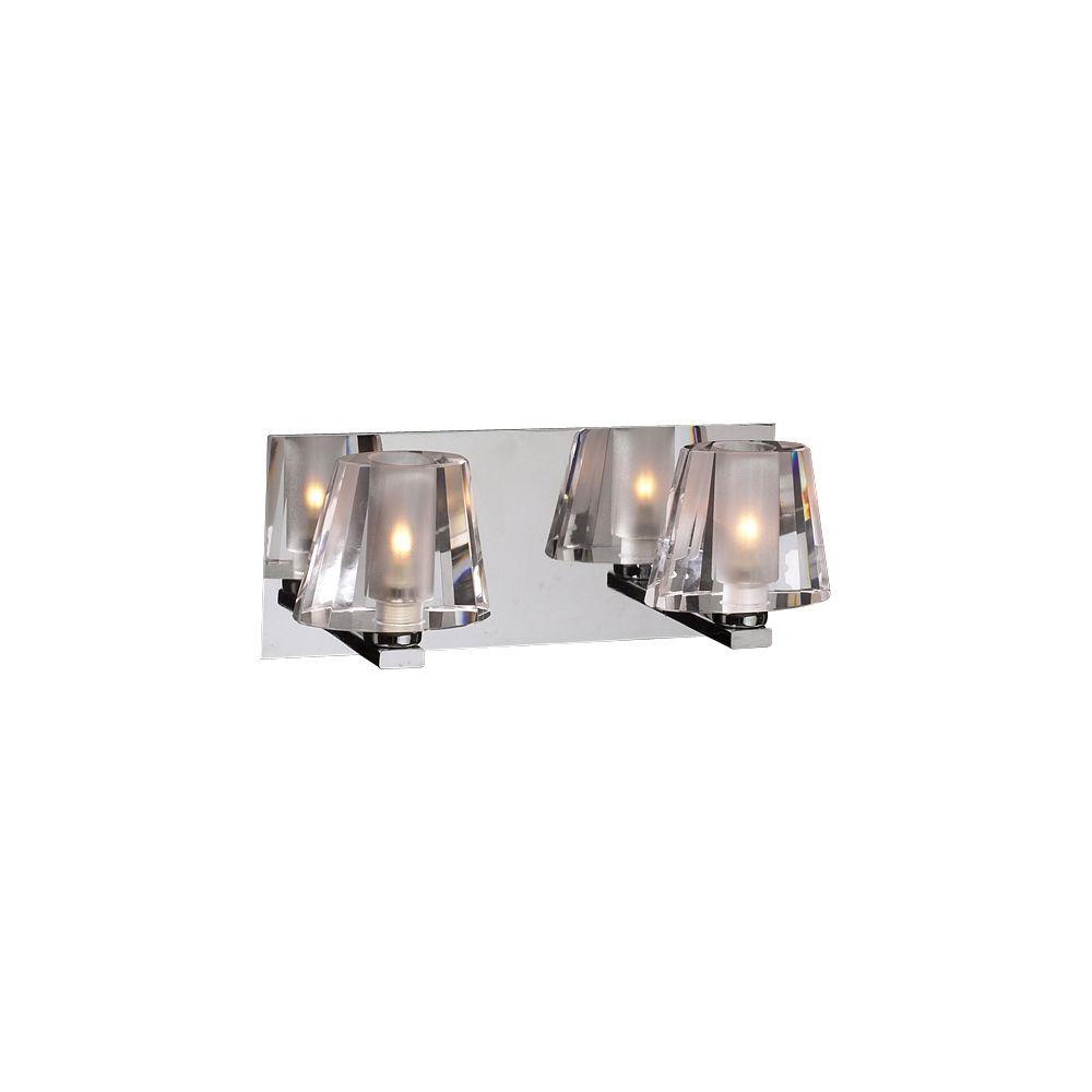 PLC Lighting 2-Light Polished Chrome Bath Vanity Light with Clear Glass