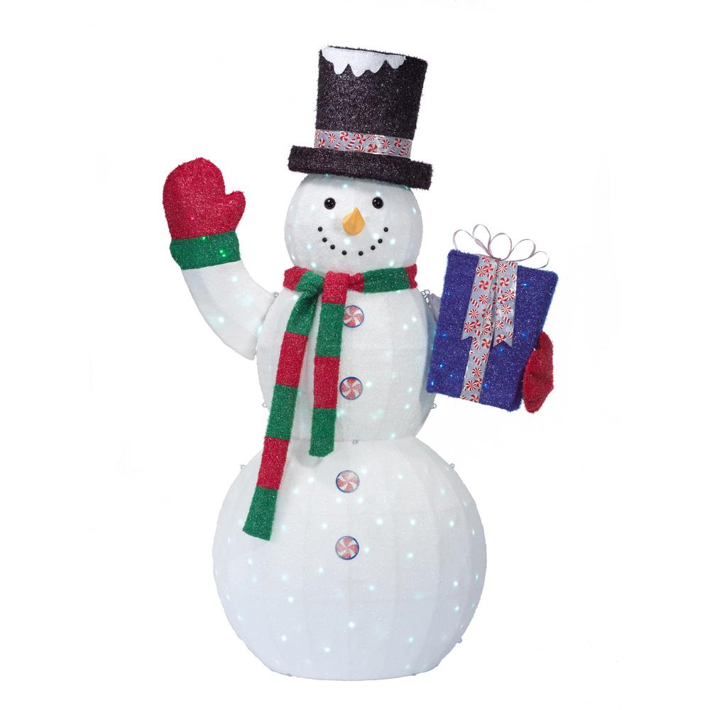 84 in. Christmas Cool White LED Twinkle Snowman with Gifts