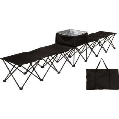 10 ft. Black Portable 6-Seater Folding Team Sports Sideline Chair with Attached Cooler