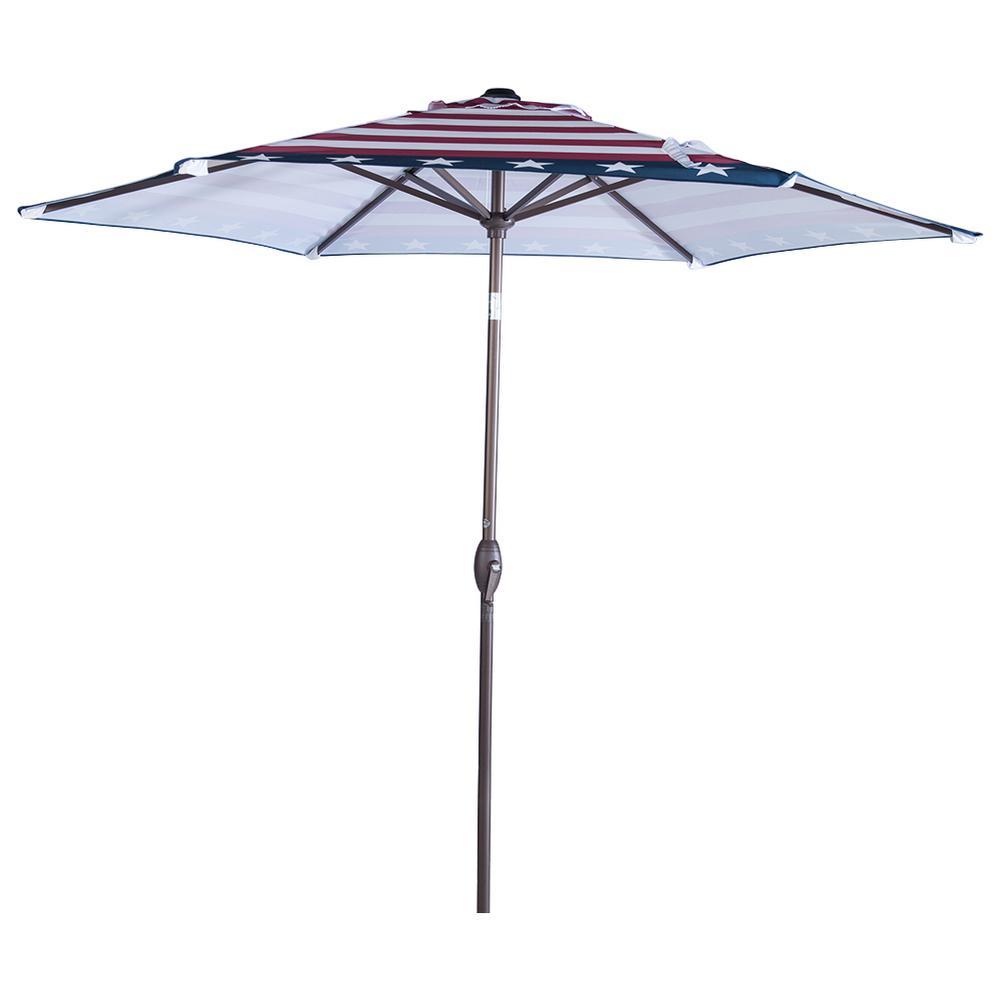 9 ft. Aluminum Market Push Tilt and Crank Patio Umbrella in Striped Flag