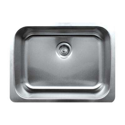 Noah's Collection Undermount Brushed Stainless Steel 25 in. Single Basin Kitchen Sink